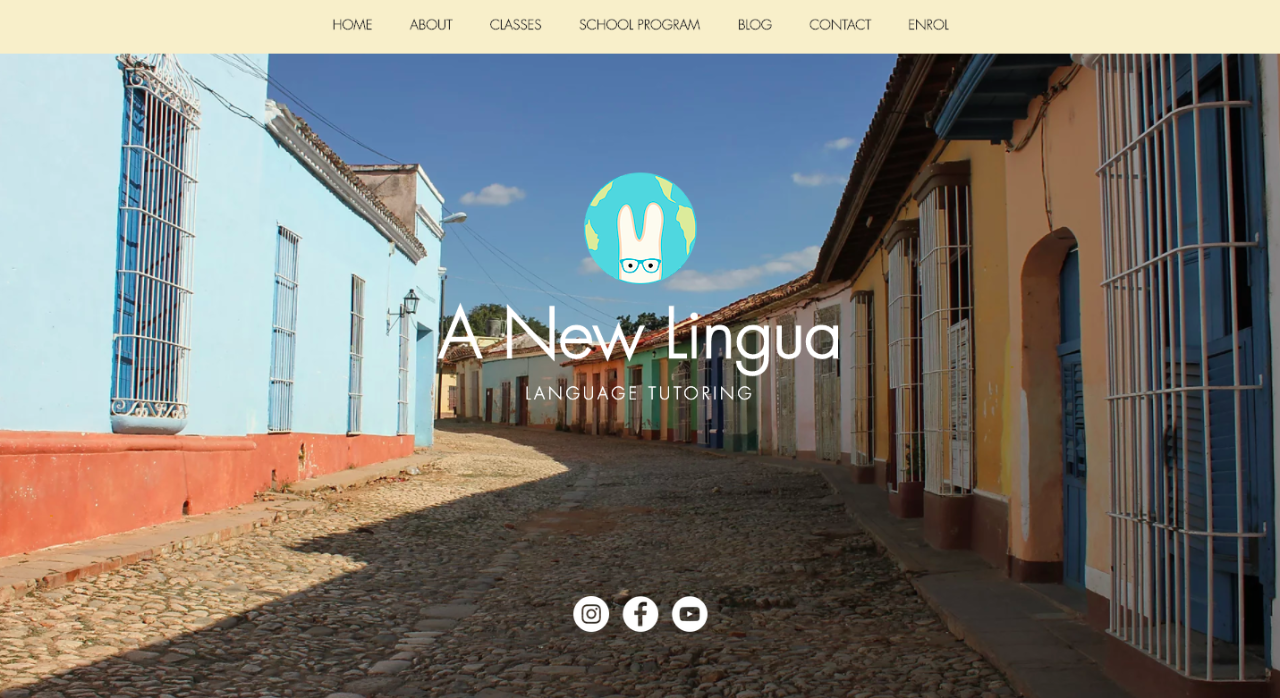 Screenshot of the A New Lingua website