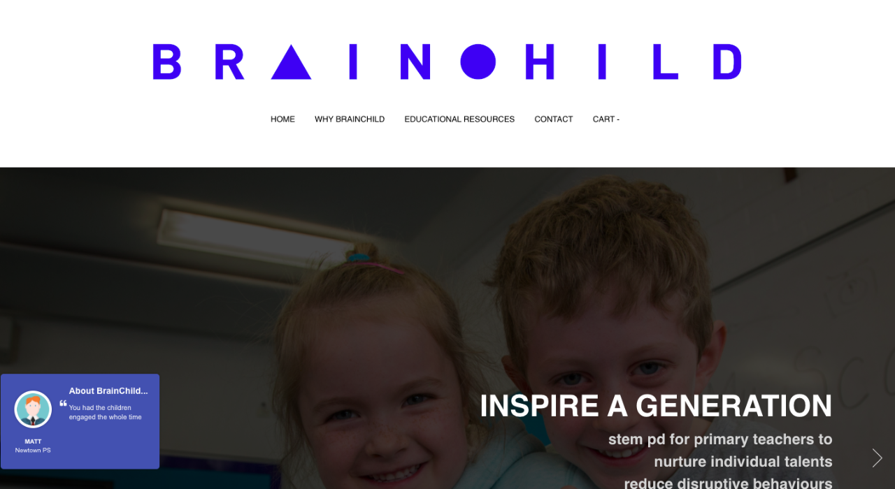 Screenshot of the Brainchild website