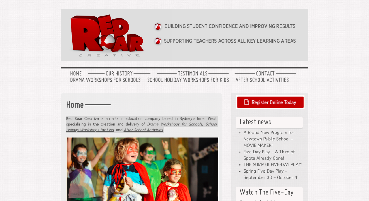 Screenshot of the Red Roar website