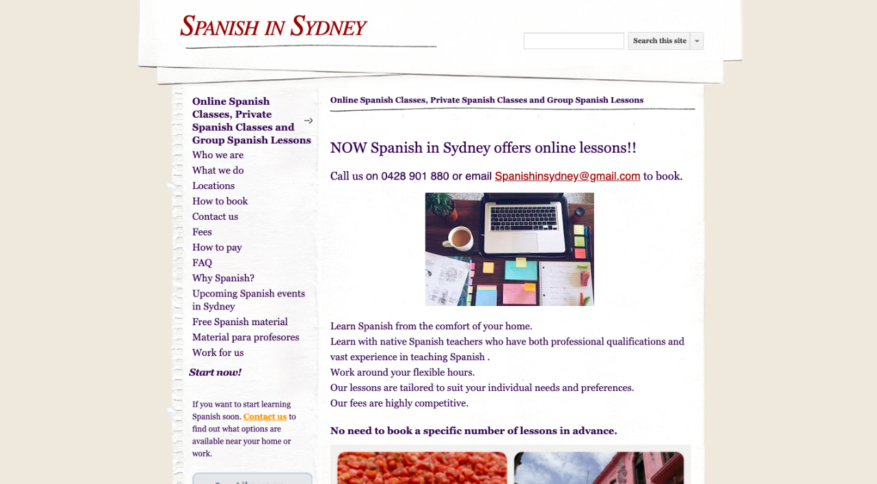Screenshot of the Spanish in Sydney website