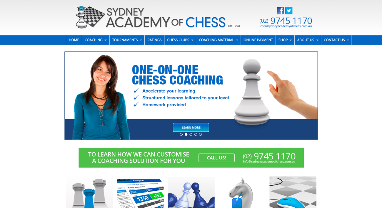 Screenshot of the Sydney Academy of Chess website